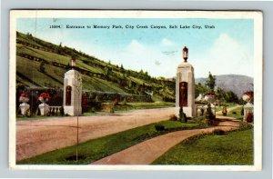 Salt Lake City UT-Utah, Memory Park Entrance City Creek Canyon, Vintage Postcard