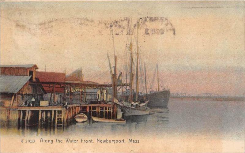 massachusetts  Newburyport,  Along the Water Front, ships at dock