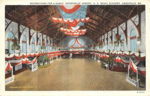 Annapolis MD~US Naval Academy~Interior of Armory~Dance Decorations~1911 E Muller