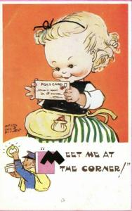 artist signed MABEL LUCIE ATTWELL, No. 5492 Meet Me at the Corner! (1950s)