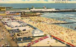 New Jersey Atlantic City Typical Beach Scene Curteich