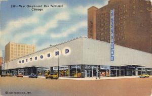Chicago Illinois New Greyhound Bus Terminal Linen Antique Postcard K23567