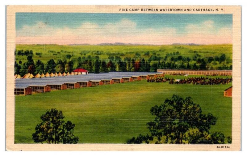 1940 Pine Camp between Watertown and Carthage, NY Postcard