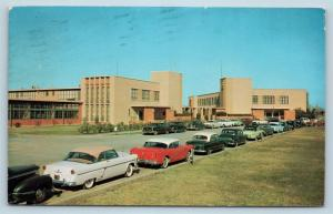 Postcard TX Beaumont Lamar State College of Technology c1950s Cars N11