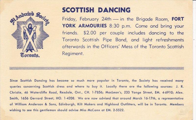 TORONTO, Ontario, Canada; Scottish Dancing Invitation, St. Andrew's Society, ...