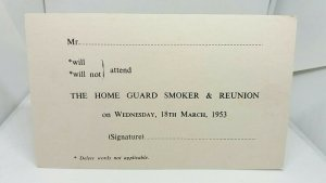 Military Postcard Invitation to The Home Guard Smoker & Reunion 1953 B H Bright