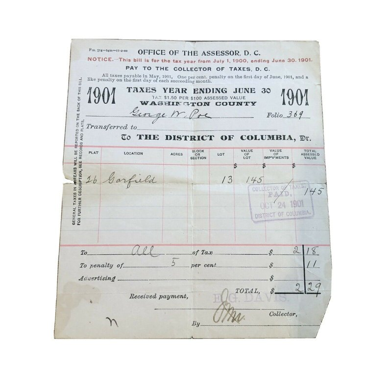 1901 - WASHINGTON DC - GEORGE POE - BILL SALE TAXES - VINTAGE PAPER