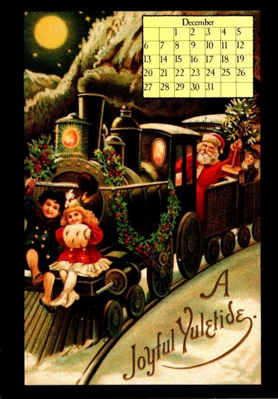 1987 Calendar Series December Christmas Greetings Santa Claus Driving Train
