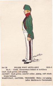 Polish Foot Artillery Cadet Army Soldier Napoleonic War Military Postcard