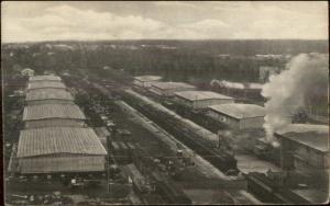Camp Pike AR Warehouses RR Train c1920 Postcard