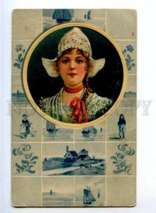 176874 DUTCH Belle Girl EMBOSSED Vintage PFB #7762 PC
