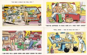 Fishing Magnet Camping 4x Comic Humour Postcard s