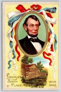 Patriotic~Abraham Lincoln Portrait~Log Cabin Birth Place~RWB Ribbons~P Sander