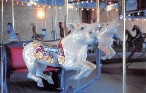 Story City Iowa Carousel Pig Seat Vintage Postcard K103943