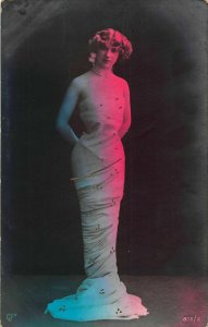 Glamour Woman in Dress Blue and Red Light Postcard