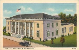 Bloomington Illinois~US Post Office~1940s Linen Postcard