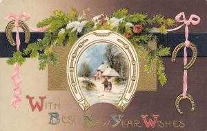New Year~Father Daughter in Horseshoe~Pine Cone Spray~Gold Emboss~John Winsch