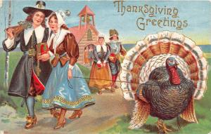 Thanksgiving  Pilgrims and a Turkey on a leash