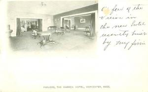 Warren Hotel, Worcester MA Interior Parlor View Early 1900s Postcard O J Pomeroy