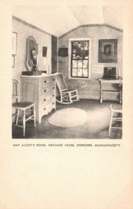 Concord, Mass, MA, Orchard House, May Alcott's Room, Vintage Postcard g4293
