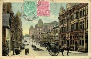 australia, SYDNEY N.S.W., Bridge Street, Horse Cart (1911) Stamps