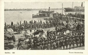 PC CPA IRAQ, BASRA, TROOPS DISEMBARKING, VINTAGE POSTCARD (b16206)