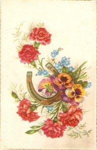 Flowers bouquet. Horseshoe Nice vintage French  postcard