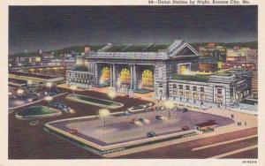 Missouri Kansas City Union Station By Night Curteich