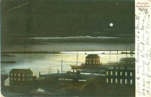 New Bedford MA Harbor at Night Postcard Postmarked 1906