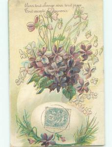 Very Old Foreign Postcard BEAUTIFUL FLOWERS SCENE AA4629