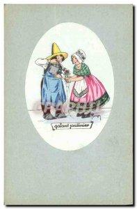 Old Postcard Fantasy Illustrator Child Galant gardener
