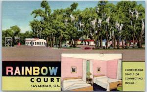 Savannah, Georgia Postcard RAINBOW COURT Motel Highway 17 Roadside Linen c1950s