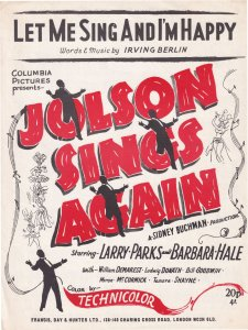 Let Me Sing And I'm Happy Al Jolson 1970s Sheet Music