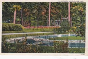 Indiana Winona Lake Swan Lagoon 1945 Curteich
