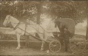 Oldest One Horse Carriage in America JW Baldwin Petersham MA c1910 RPPC
