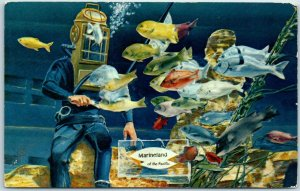 Vintage Marineland of the Pacific Postcard Oceanarium Divers Artist's View Calif
