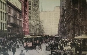 Broadway New York NY Most Famous Street In US Postcard Trolleys People Building