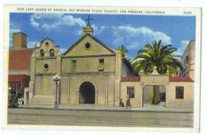 Our Lady Queen of Angels, Old Mission Plaza Church Los Angeles CA, 1938 Linen