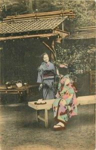 Hand colored Women outdoor Tea Japan 1910 Postcard 13038