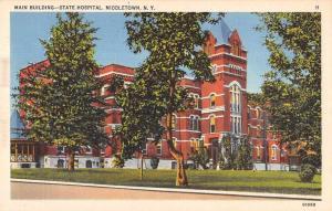 Middletown New York State Hospital Main Bldg Vintage Postcard JA4741568