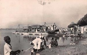 Fort Lamy Chad Africa Cars on River Ferry Real Photo Antique Postcard J80362