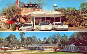 Hardeeville SC Magnolia Restaurant Motel Old Cars Dual View Postcard