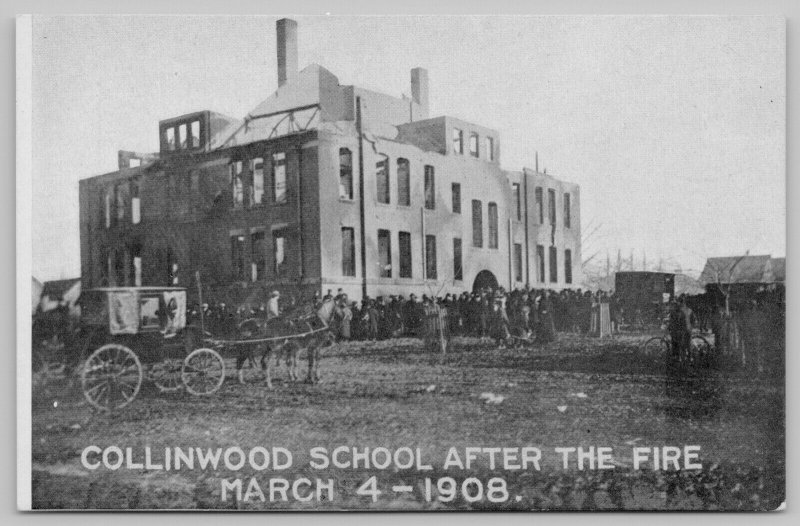 Cleveland Collinwood Ohio~Lake View School After Fire~Crowd~Hearse Wagon~1908