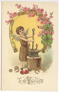 To My Valentine Cupid Blacksmith Wreath Embossed Postcard