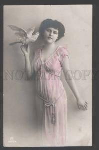 110779 BELLE Lady FAIRY w/ PIGEON on Hand Vintage PHOTO tinted