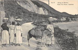Jamaica~Rock Foil Road~Ladies Going to Market with Baskets on Head-Donkey~c1910