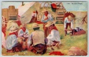 FW Schultz Western Artist~The Chuck Wagon~Ranch Hand Cowboys Get Grub~Haffner
