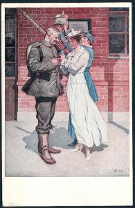 Before Departure German Soldier w/Lady Friend used c1916
