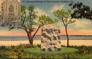 Florida Bradenton Monument Marking De Soto's Landing 1943 Curteich