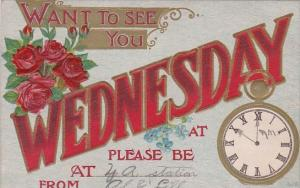 Day Card Wednesday With Clock 1911